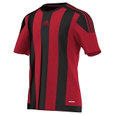 Adidas Striped 15 SS Jersey - Power Red/Black