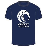 Cricket Scotland Junior Logo T-shirt Navy