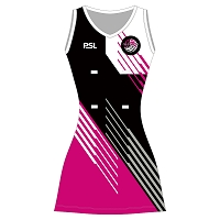 Glasgow Fury Netball Club Junior Dress - Black/Pink/White/Silver