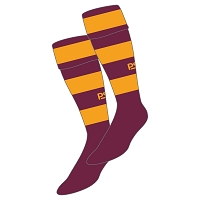 Harris Academy FP Hockey Club Hoop Sock - Maroon/Gold