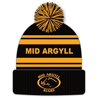 Mid Argyll RFC Bobble Hat - Black/Gold