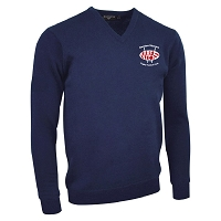 Newton Stewart RFC V-Neck Lambswool Sweater Navy