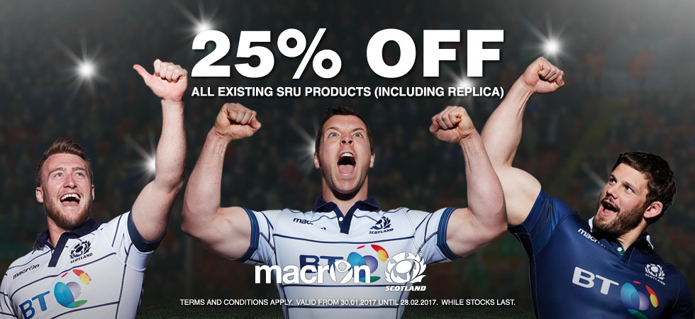 The official replica range for the Scotland Rugby Squad is made by Macron. In this section you will find everything you need from Scotland Rugby replica rugby shirts, polo shirts, hoodies, jackets and the Murrayfield collection.