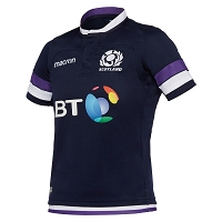 2018 Scotland Rugby Home Poly Replica Shirt SS JR