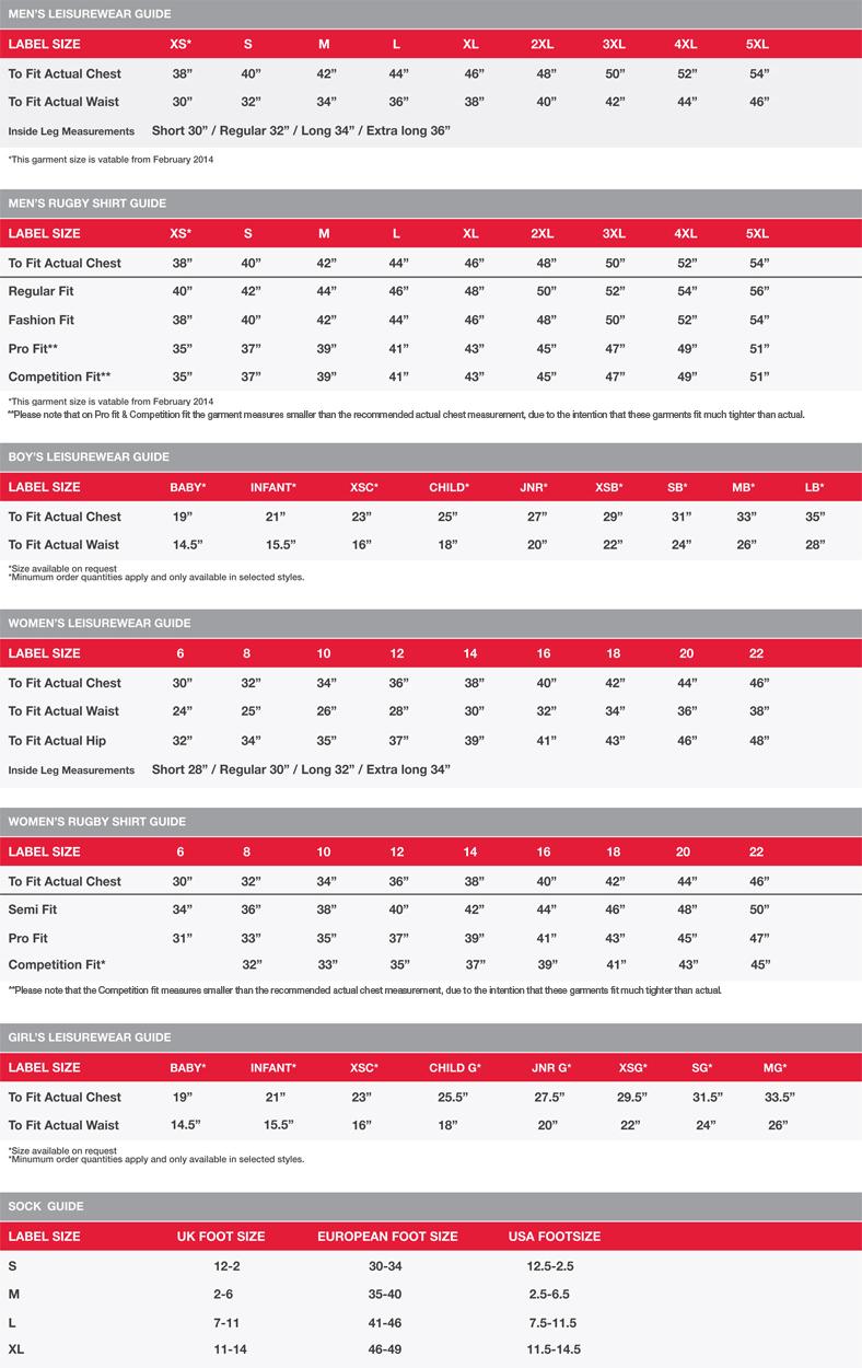 a49f1d04872 PSL Team Sports - Samurai Size Guide