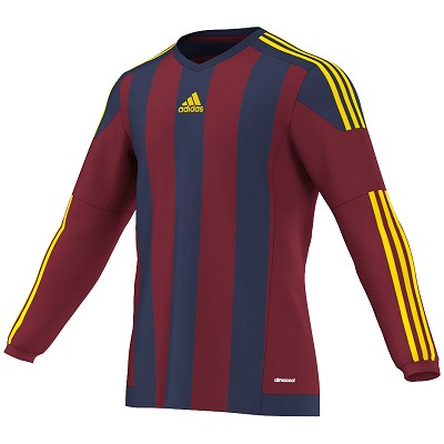 Adidas Striped 15 LS Jersey - Collegiate Burgundy/Dark Blue/Yellow
