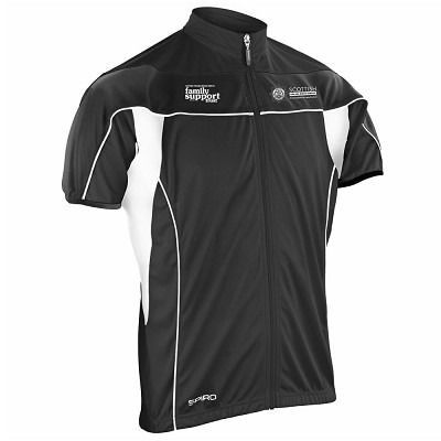 SFRS Family Support Trust Short Sleeve Performance Cycling Top Mens Black/White